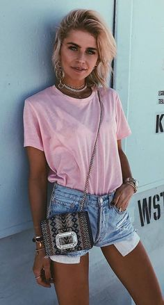 tee + bag + denim shorts