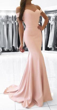 Mermaid Prom Dresses Long, 2019 Pink Formal Dresses With Cap Sleeves, Satin Evening Dresses Simple - - Pink Formal Dresses, Cute Prom Dresses, Mermaid Prom Dresses, Formal Evening Dresses, Formal Gowns, Ball Dresses, Homecoming Dresses, Strapless Dress Formal, Dress Long