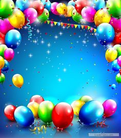 Free Confetti and colorful balloons birthday background vector 02  vector download