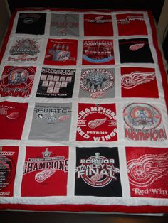 Tshirt Quilt - Detroit Red Wings, via Etsy.