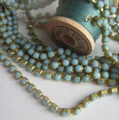 Robins Egg Turquoise Rhinestone Chain by WhoKnowsWhat on Etsy