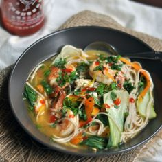 Noodle, Vegetable and Shrimp Soup