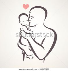 father and baby isolated vector symbol - buy this vector on Shutterstock & find other images. Father Daughter Tattoos, Father Tattoos, Dad Tattoos, Tattoos For Daughters, Tattoos For Guys, Baby Silhouette, Silhouette Tattoos, Pencil Art Drawings, Art Drawings Sketches