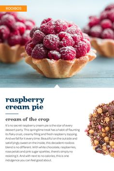 Berries and cream are a perfect springtime treat. And this sweet and creamy combo of rooibos, white chocolate and raspberries is every bit as delicious. Raspberry Cream Pies, Tea Riffic, Davids Tea, Tea Cafe, Tea Ideas, Sweet Pie, Tea Blends, Party Desserts, My Tea