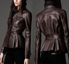 Genuine leather motorcycle jacket coat coffee Womens size S-XXL fashion L