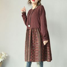 Red Cotton Linen Floral Dress