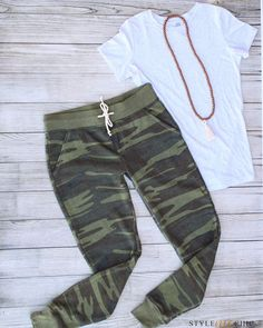 The Huntress Camo Sweatpant  Friends, don't miss out on these super soft Alternative Apparel jogger pants with fleece lining. They will be a staple in your wardrobe for your casual-comfy look this fall and winter! They can be worn casual or dressed up with your favorite booties and chambray shirt.  The fit of these must-have sweatpants is: Tapered leg with normal waist and rise. Straight from the hip and run narrow through the leg opening!