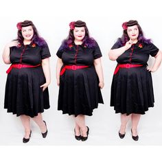 Rock Around The Clock - Sherry Rockabilly Diner Dress in Black from Dolly And Dotty Rock Around The Clock, Diana Fashion, Ootd, Love Photos, Love S, Rockabilly, Plus Size Fashion, Harajuku, Photo And Video
