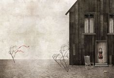 """Gabriel Pacheco's """"Tres ninas"""". There is only one  girl in this work, but there are allusions to the other two. The red ribbons attached to the tree that flutter in the wind match the red boots the girl in the doorway is holding. The trees are withered and bend in the wind. A chair sinks into the ground, perhaps from this girl sitting outside as she waited for the two girls."""