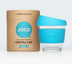 Great christmas present idea. JOCO glass reusable coffee cup 8oz in blue. Available October 2013. www.jococcups.com #blue #coffee #reusablecup #glass #tea