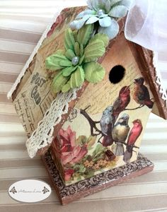 Decorative Bird Houses, Bird Houses Painted, Decorative Boxes, Crafts To Sell, Home Crafts, Diy And Crafts, Paper Crafts, Homemade Bird Houses, Unicorn Crafts