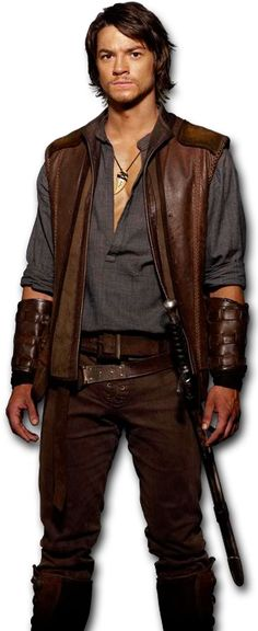 "not strict, but maybe some ideas. Leather vest, laced fly of trousers, suede-like trousers, with similar ""pioneer"" shirt"