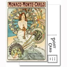 Monte Carlo Monaco by Alphonse Mucha Postcard