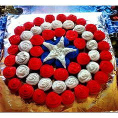Captain America Birthday Cupcakes  ~Because my boy prefers cupcakes :)
