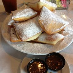 Beignets with Praline Pecan Sauce at Huey's New Orleans Cafe on the River in Savannah, GA