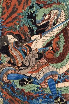 Samurai, Japanese woodblock print c. battle with giant snake Folklore Japonais, Art Japonais, Japan Illustration, Giant Snake, Suikoden, Grand Art, Art Chinois, Japanese Mythology, Art Asiatique
