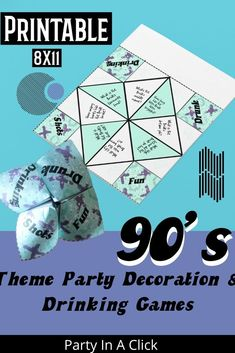 90's Themed Bachelorette Party Decorations and Drinking Games. Printable Fortune Tellers with a retro theme. Bachelorette Party Drinks, Bachelorette Party Decorations, Birthday Party Decorations, Drinking Games For Parties, Hot Wheels Party, Paper Games, Bridal Shower Party, Get The Party Started, 30th