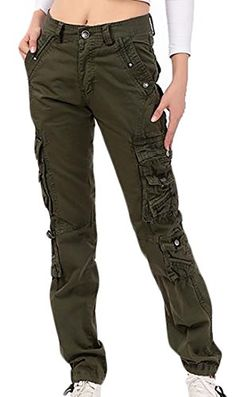 36f99d596bf ARRIVE GUIDE Womens Multi Pocket Ripstop Solid Straight Leg Autumn Cargo  Pants Army Green 32 *** Details can be found by clicking on the image.