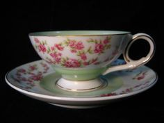 Occupied Japan Diamond Sm Tea Cup & Saucer Pink Roses