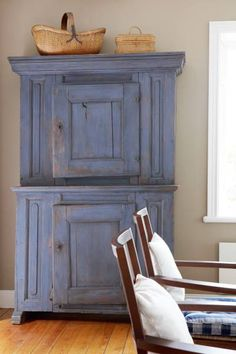 blue cupboard with nice patina