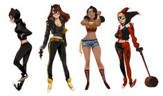 """jigokuen: """" Some DC girls redesigns! An extension to the street wear Super heroines thing I did awhile ago. Unfortunately missed the Project Rooftop redesign contest, but these have been floating around in my head for awhile. I also get a lot of..."""