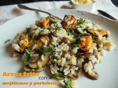 Cocinando en Mislares: ARROZ FRITO con MEJILLONES y PORTOBELLO