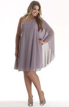 One shoulder cape dress/Mystic Rose Style No: ED5071 Drama and Elegance... Georgette/satin one shoulder and wide cape party dress. This dress has a gorgeous beaded embellishment waist height on the side. #fashion #plussize