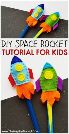 DIY Space Rocket Pencil Toppers for kids. This is a fun space rocket craft for kids and a great party favor idea! : DIY Space Rocket Pencil Toppers for kids. This is a fun space rocket craft for kids and a great party favor idea! Felt Crafts Kids, Easy Crafts For Kids, Preschool Crafts, Projects For Kids, Diy For Kids, Pencil Topper Crafts, Pencil Crafts, Rocket Craft, Diy Rocket