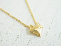 Cute fox pendant necklace in gold Everyday by janesshopinetsy, $13.50