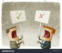 two businessmen holding a sign protesting with different opinions