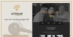 Unique - Law Firm Landing Page PSD Template . Unique has features such as High Resolution: Yes, Layered: Yes, Minimum Adobe CS Version: CS3, Pixel Dimensions: 1890x11160