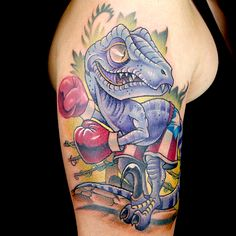 New School Dinosaur Tattoo by Christian Buckingham