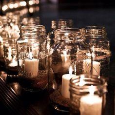 Would be nice spruced up mason jar w/floating candle & floating sand Purple Wedding, Fall Wedding, Diy Wedding, Rustic Wedding, Dream Wedding, Wedding Ideas, Wedding Thanks, Dyi, Marrying My Best Friend