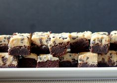 These two-layer Cookie Dough Brownies feature a rich, chewy chocolate brownie topped with eggless mini chocolate chip-filled cookie dough!