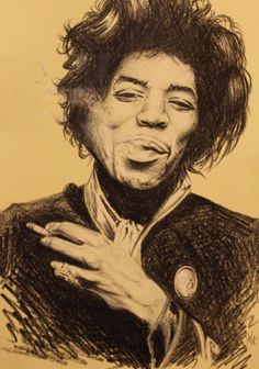 Jimi. pencil drawing A5 on toned paper. 2014