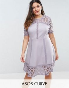 ASOS CURVE Premium Lace Insert Mini Dress