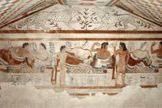 """1. """"Banqueters"""" 480-470 BC. - Different types of Tebenna."""