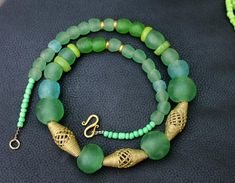 Green African Necklace  Lost Wax Beads by HeleenAfricanJewelry