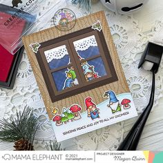 mama elephant | design blog: STAMP HIGHLIGHT: Oh Gnomie Tree Megan Quinn, Elephant Design, Mama Elephant Stamps, Girl Gnome, Snow Angels, Shaker Cards, Little Boxes, Pink And Green, Little Girls
