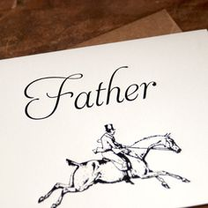 Letterpress Father's Day Card by PheasantPress. horse riding, equestrian, dad, hunting, fox hunting