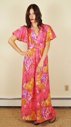 Vintage 70s Pink Floral Dress Hippie Festival Ruffle Sleeve Maxi Dress Medium | eBay