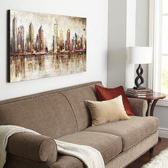 New York, Chicago or Hong Kong? Yes. Our artist's idealized creation brings to life all the color and excitement of your favorite big cities. Vibrant, thrumming energy in hand-painted metallic colors brings an undeniable joy to this skyline.