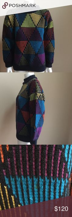 Vintage wool Coogi sweater. Reminds me of a rubix cube, hexagon shape. Colorful goodness. One small spot pictured. COOGI Sweaters Turtleneck