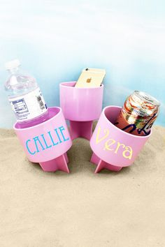 Just Spike It in the sand to keep your drink from spilling and to keep it sand free! Also great for holding your phone, music player, suntan lotion, and more to keep them off of the hot beach sand! Beach Weather, Suntan Lotion, Hot Beach, Drink Holder, Monogram Initials, Spring Break, Lilac, Beverages, Fun