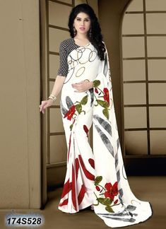 Green Red and White Italian Crepe Sarees – Dailybuyys
