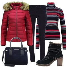 Un outfit comodo e adatto al freddo: piumino imbottito, di un bel rosa acceso, maglioncino a collo alto, con tutti i colori dell'outfit, caldi pantaloni di velluto, borsa a mano e stivaletti scamosciati imbottiti, con tacco medio.