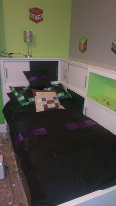 Unofficial Minecraft inspired bedding made by I'm in stitches