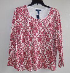 New Karen Scott PLUS 2X size long sleeve New Red Amore #KarenScott #Crewneck