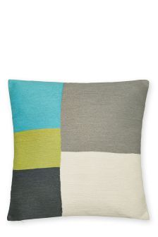 Heavily Embroidered Block Cushion