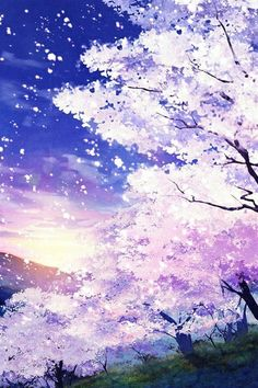 Cherry Blossom painting (purple, violet, lavender, blue)